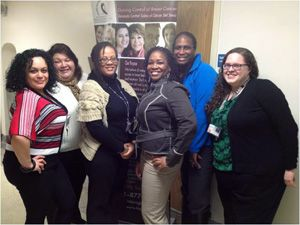 The Helping Her Live team (left to right): Maria Trujillo (community health educator/navigator [CHE/N]), Melinda Medina (CHE/N), Jana Stringfellow (CHE/N), Chela Sproles (program manager), Oreletta Garmon (CHE/N), and Jackie Kanoon, MPH (program coordinator)